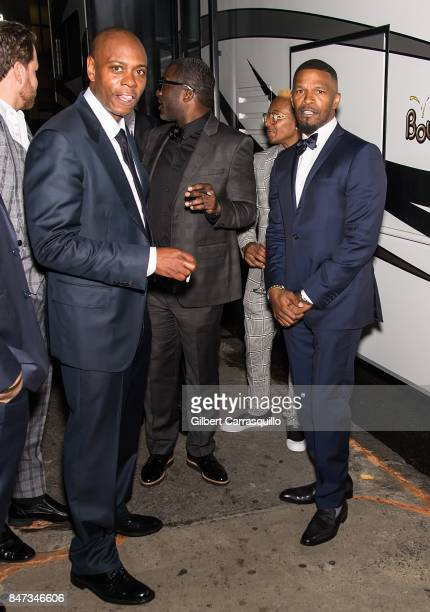 Comedian Dave Chappelle and actor Jamie Foxx are seen during Rihanna's 3rd Annual Diamond Ball Benefitting The Clara Lionel Foundation at Cipriani...