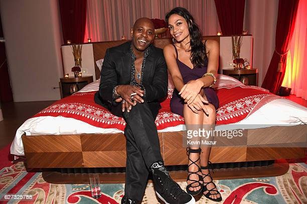 Comedian Dave Chappelle and actress Rosario Dawson attend as Bulgari supports Madonna's evening of music art mischief and performance to benefit...