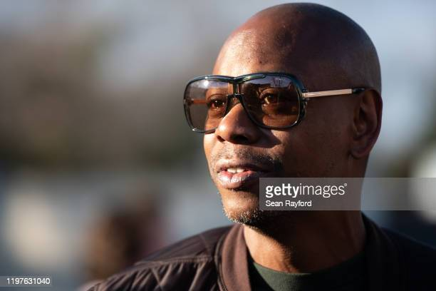 Comedian Dave Chappelle campaigns for Democratic presidential candidate Andrew Yang on January 30, 2020 in North Charleston, South Carolina. The...