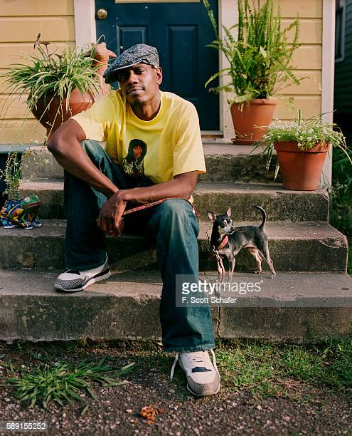 Comedian Dave Chappelle is photographed for Blender Magazine in 2004 Customized tshirt by Deborah Ferguson Jeans by True Religion Shoes by Nike...