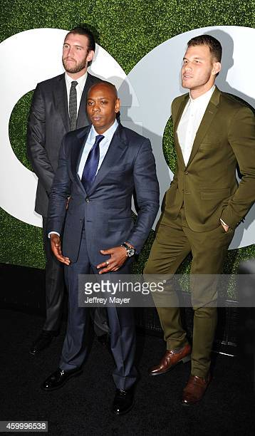 Comedian Dave Chappelle poses with NBA players Spencer Hawes and Blake Griffin at the 2014 GQ Men Of The Year Party at Chateau Marmont on December 4...