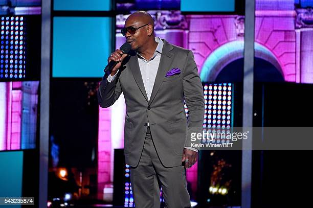 Comedian Dave Chappelle speaks onstage during the 2016 BET Awards at the Microsoft Theater on June 26 2016 in Los Angeles California
