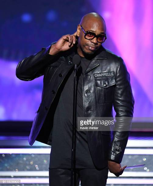 Comedian Dave Chappelle speaks onstage during the 60th Annual GRAMMY Awards at Madison Square Garden on January 28 2018 in New York City
