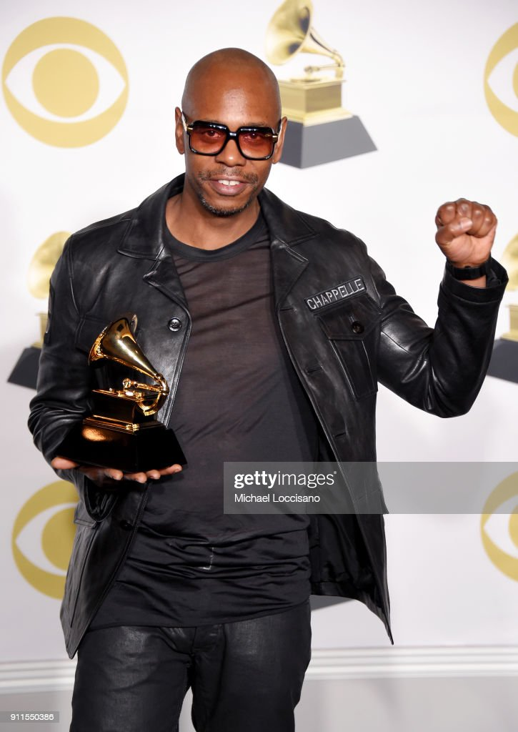 Comedian Dave Chappelle, winner of the Best Comedy Album for 'The Age of Spin & Deep in the Heart of Texas,' poses in the press room during the 60th Annual GRAMMY Awards at Madison Square Garden on January 28, 2018 in New York City.