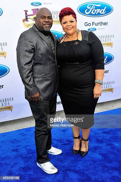 Comedian David Mann and actress Tamela Mann attend the 2014 Ford Neighborhood Awards Hosted By Steve Harvey at the Phillips Arena on August 9 2014 in...
