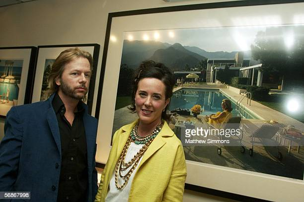 Comedian David Spade and his sister Kate Spade attend a gallery exhibition of photographer Slim Aarons' work curated by Kate Spade at Fred Segal Cafe...
