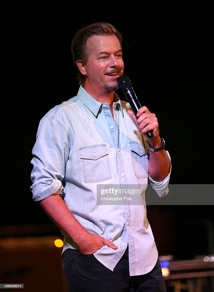 Comedian David Spade performs onstage during Rock4EB, Malibu, with Jackson Browne & David Spade sponsored by Suja Juice & Sabra Hummus at Private Residence on September 28, 2014 in Malibu, California.