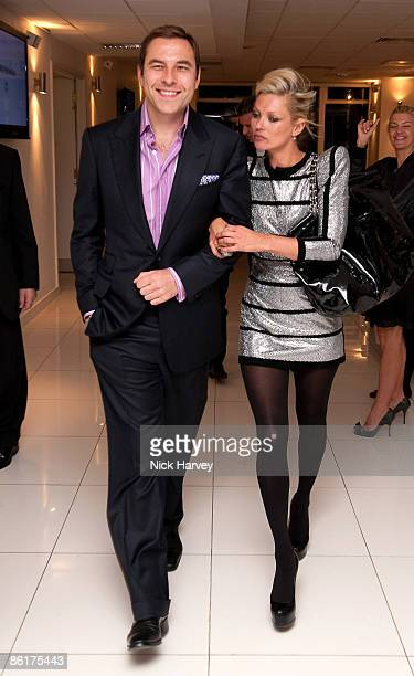 Comedian David Walliams and model Kate Moss attend the unveiling of the 'White Light' diamond brooch designed by Shaun Leane at Millbank Tower on...