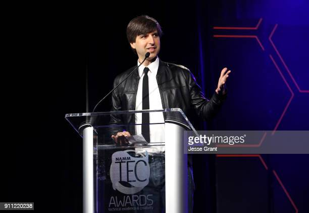 Comedian Demetri Martin speaks onstage at The 2018 NAMM Show at Anaheim Convention Center on January 27 2018 in Anaheim California