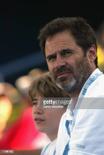 Comedian Dennis Miller observes during the match between Andy Roddick and HyungTaik Lee on July 22 2002 in the first round of the MercedesBenz Cup at...