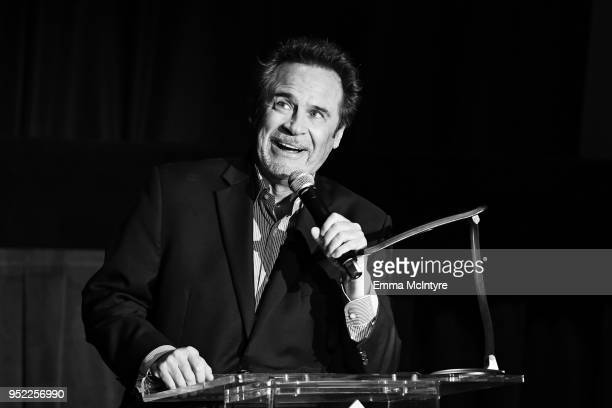 Comedian Dennis Miller speaks onstage at the screening of 'Creature From the Black Lagoon 3D' during Day 2 of the 2018 TCM Classic Film Festival on...
