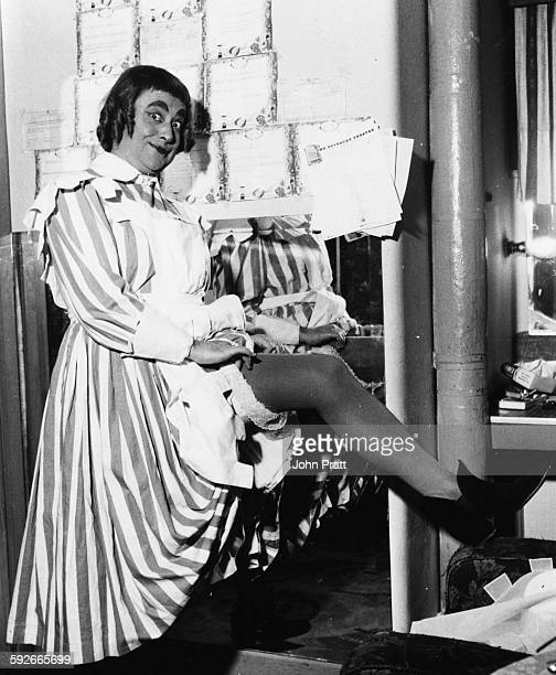 Comedian Derek Roy dressed in drag as the nursemaid in the pantomime 'Robin Hood' Coventry circa 1959