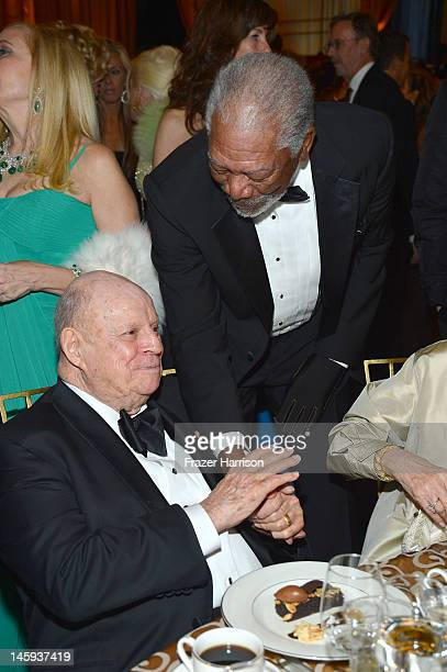 Comedian Don Rickles and actor Morgan Freeman attends the 40th AFI Life Achievement Award honoring Shirley MacLaine held at Sony Pictures Studios on...