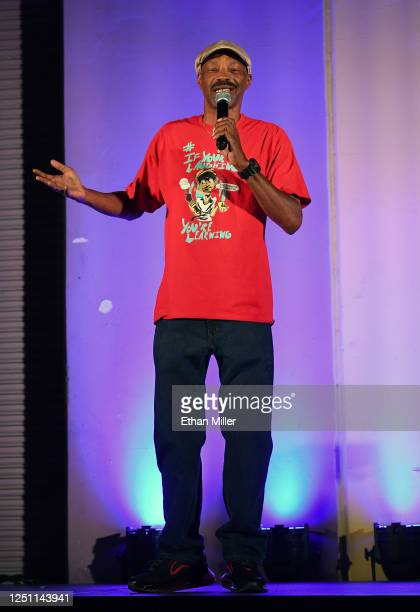 Comedian Donnie Johnson performs his stand-up comedy routine during a drive-in comedy show hosted by TickleMe Comedy Club at the Dreamland Drive-In...