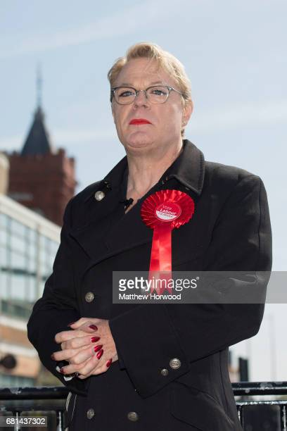 Comedian Eddie Izzard looks on during campaigning for the Labour party in Mermaid Quay Cardiff Bay on May 10 2017 in Cardiff Wales A general election...