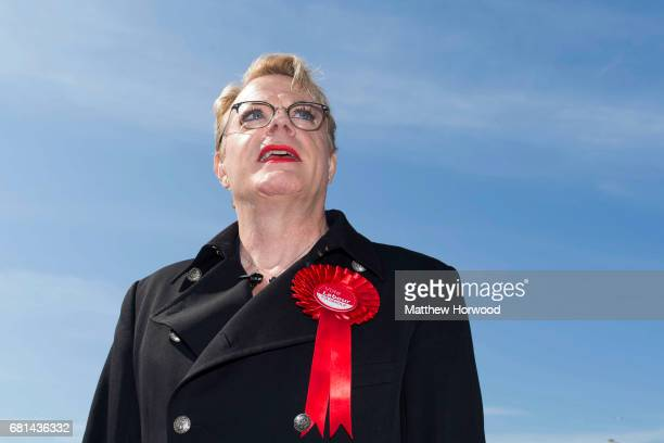 Comedian Eddie Izzard looks on while campaigning for the Labour party in Mermaid Quay Cardiff Bay on May 10 2017 in Cardiff Wales A general election...