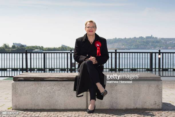 Comedian Eddie Izzard sits on a bench while campaigning for the Labour party in Mermaid Quay Cardiff Bay on May 10 2017 in Cardiff Wales A general...