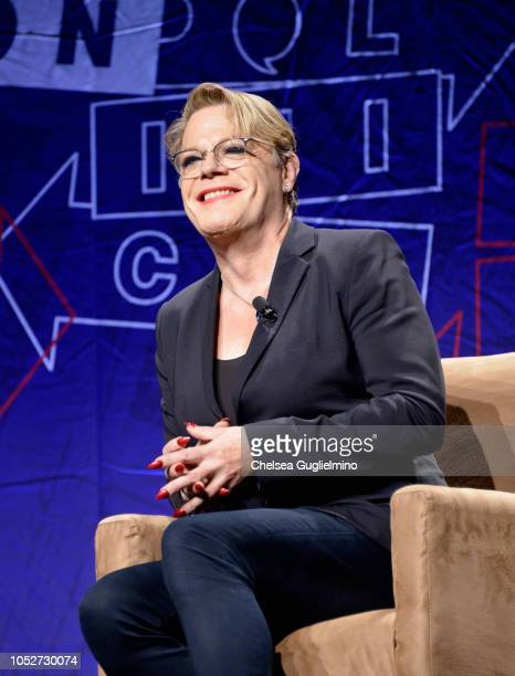 Comedian Eddie Izzard speaks during Politicon 2018 at Los Angeles Convention Center on October 21 2018 in Los Angeles California