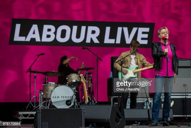 Crowds at the main stage before Labour party leader Jeremy Corbyn spoke on the main stage at Labour Live White Hart Lane Tottenham on June 16 2018 in...
