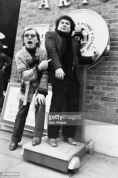 Comedian Eddie Large weighs in outside Fairfield Hall in Croydon London watched by his comedy partner Syd Little 1st March 1979 They are launching a...