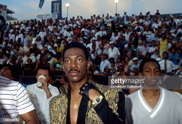 Comedian Eddie Murphy attends Thomas Hearns versus James Shuler fight at Caesar's Palace on March 10 1986 in Las Vegas Nevada