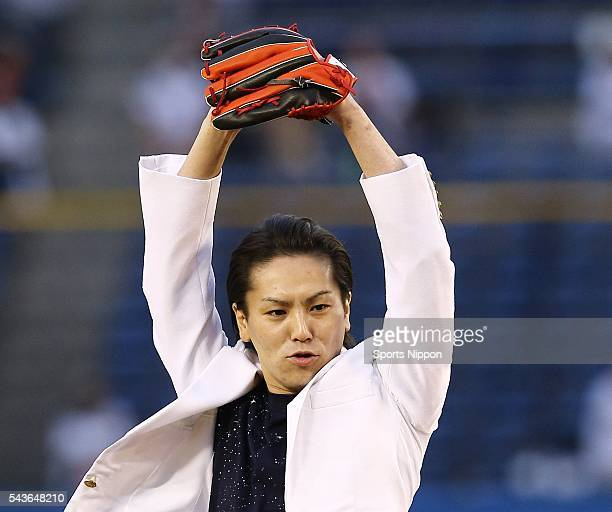 Comedian Eiko Kano attends the ceremonial first pitch prior to the game between the Chiba Lotte Marines against the Fukuoka SoftBank Hawks at the QVC...