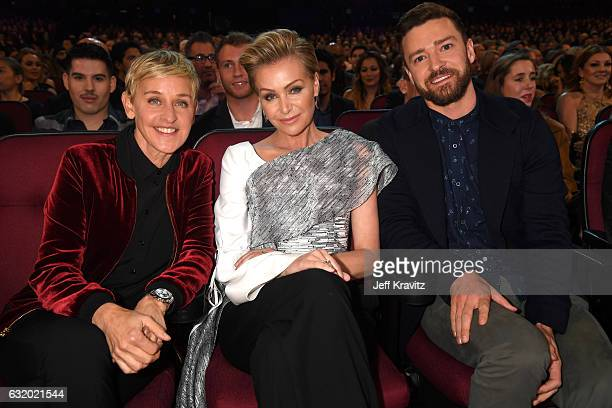 Comedian Ellen DeGeneres actress Portia de Rossi and singer/actor Justin Timberlake attend the People's Choice Awards 2017 at Microsoft Theater on...