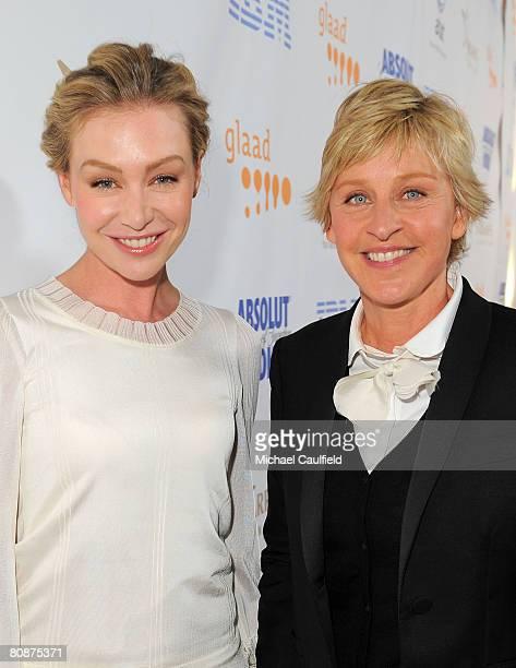 Comedian Ellen DeGeneres and actress Portia de Rossi arrive at the 19th Annual GLAAD Media Awards on April 25 2008 at the Kodak Theatre in Hollywood...