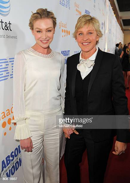 Comedian Ellen DeGeneres and actress Portia de Rossi arrive at the 19th Annual GLAAD Media Awards on April 25 2008 at the Kodak Theatre in Hollywood...