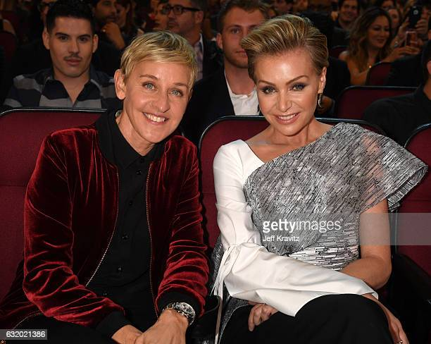 Comedian Ellen DeGeneres and actress Portia de Rossi attend the People's Choice Awards 2017 at Microsoft Theater on January 18, 2017 in Los Angeles,...