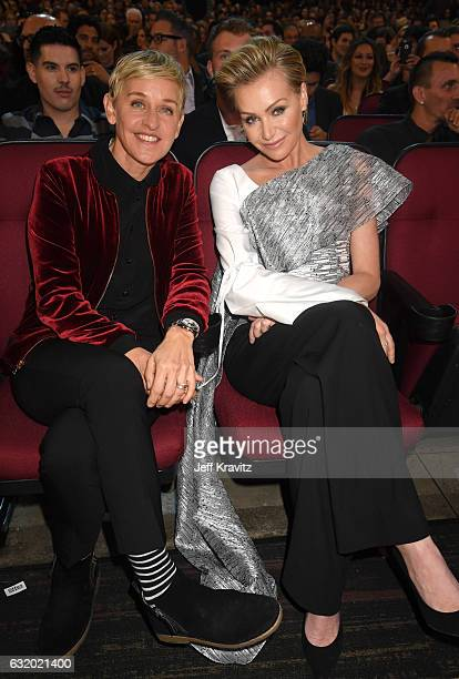 Comedian Ellen DeGeneres and actress Portia de Rossi attend the People's Choice Awards 2017 at Microsoft Theater on January 18 2017 in Los Angeles...