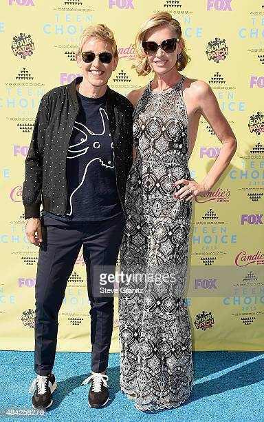 Comedian Ellen DeGeneres and actress Portia de Rossi attend the Teen Choice Awards 2015 at the USC Galen Center on August 16 2015 in Los Angeles...
