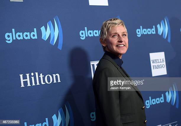 Comedian Ellen DeGeneres attends the 26th Annual GLAAD Media Awards at The Beverly Hilton Hotel on March 21 2015 in Beverly Hills California