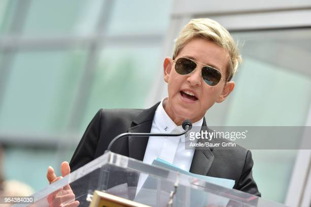 Comedian Ellen DeGeneres attends the ceremony honoring NSYNC with star on the Hollywood Walk of Fame on April 30 2018 in Hollywood California