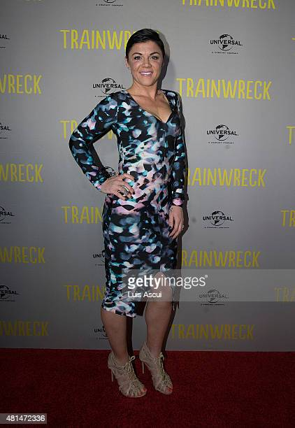 Comedian Em Rusciano arrives at the Trainwreck premiere at Village Jam Factory on July 21 2015 in Melbourne Australia