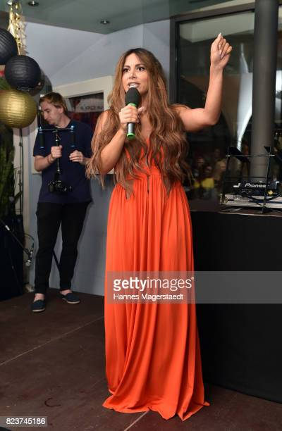 Comedian Enissa Amani during the H'ugo's 10th birthday celebration party at Hugo's on July 27 2017 in Munich Germany