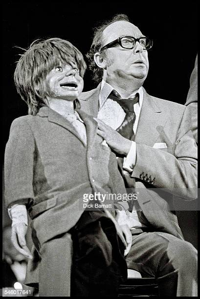 Comedian Eric Morecambe performs with a ventriloquist's dummy at Fairfield Halls Croydon United Kingdom 1973