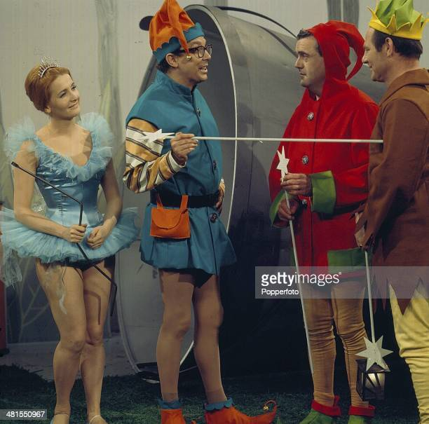 1968 Comedian Eric Morecambe posed with Millicent Martin and writers Dick Hills and Sid Green on the set of the television series 'The Morecambe and...