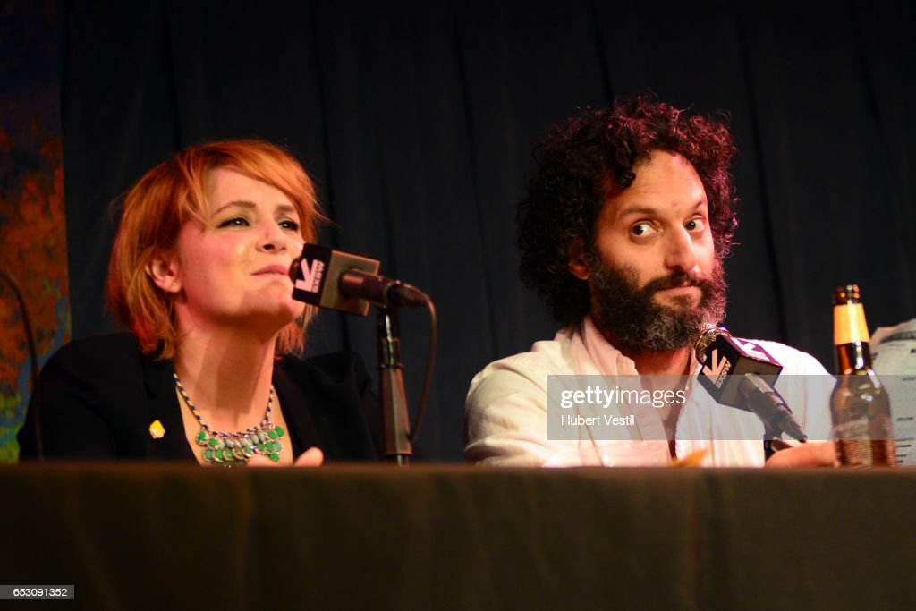 Comedian Erin McGathy (L) and Actor/comedian Jason Mantzoukas perform onstage at HarmonQuest during 2017 SXSW Conference and Festivals at Esther's Follies on March 13, 2017 in Austin, Texas.