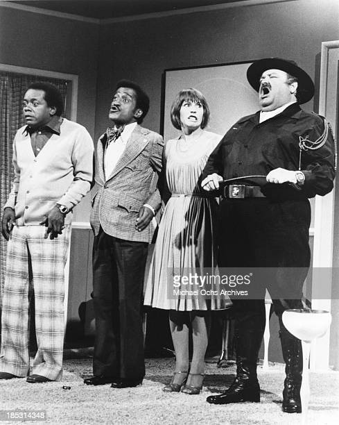 Comedian Flip Wilson and entertainer Sammy Davis Jr with 2 other actors in a scene from The Flip Wilson Show in circa 1972 in Los Angeles California
