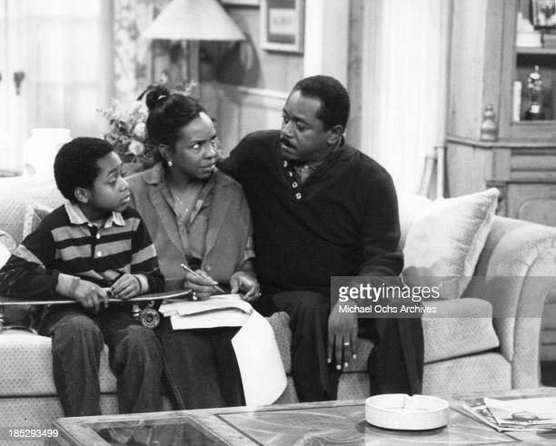 Comedian Flip Wilson as Charlie Richmond has a serious talk with his wife Diana and son Robert about his case of stage fright on the TV show Charlie...
