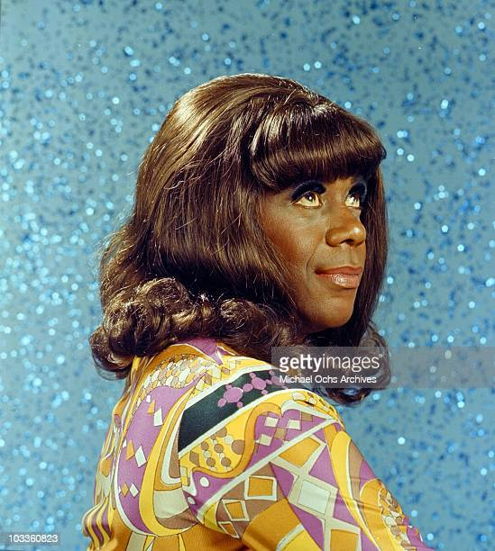 Comedian Flip Wilson poses for a portrait in drag costume as the character Geraldine in a scene from the Flip Wilson Show in circa 1972