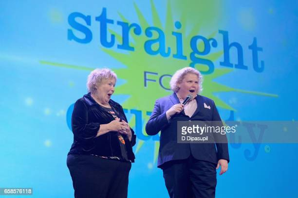 Comedian Fortune Feimster and mother Ginger Feimster speak on stage during the ninth annual PFLAG National Straight for Equality Awards Gala on March...