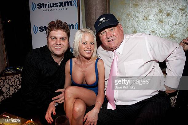 Comedian Frankie Hudak The Bunny Ranch's Dennis Hof and Cami Parker attend the book launch party for The Gods of Greenwich at Kiss Fly on April 28...