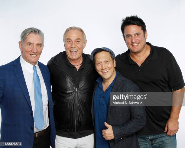 Comedian Frazer Smith Ice House executive Johnny Buss comedian Rob Schneider and comedian Joe Bartnick pose during their appearance at The Ice House...