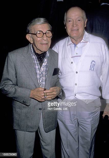 Comedian George Burns and Actor Bob Hope attend the George Burns and Bob Hope Comedy Stage Show Billed ''Burns and Hope, 179 Years of Comedy'' on...