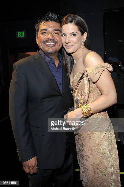 Comedian George Lopez and actress Sandra Bullock backstage during the People's Choice Awards 2010 held at Nokia Theatre LA Live on January 6 2010 in...