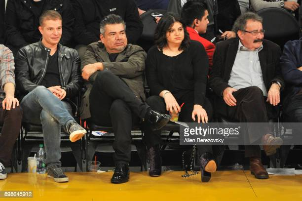 Comedian George Lopez and Mayan Lopez attend a basketball game between the Los Angeles Lakers and the Minnesota Timberwolves at Staples Center on...