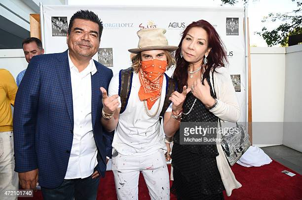 Comedian George Lopez artist Alec Monopoly and Anna Shay attend the 8th Annual George Lopez Celebrity Golf Classic PreParty at the SLS Hotel on May 3...