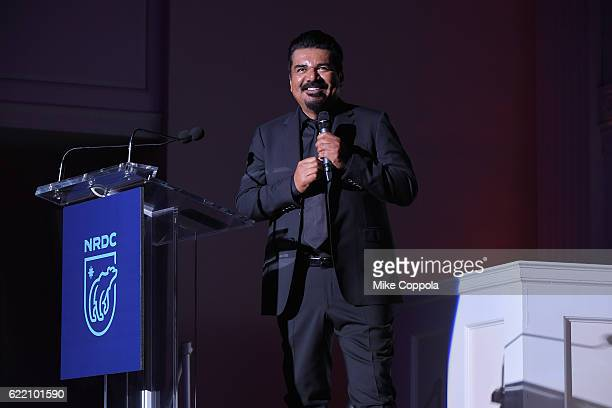 Comedian George Lopez performs onstage during the Natural Resources Defense Council's NRDC's Night of Comedy Benefit with Seth Meyers John Oliver...